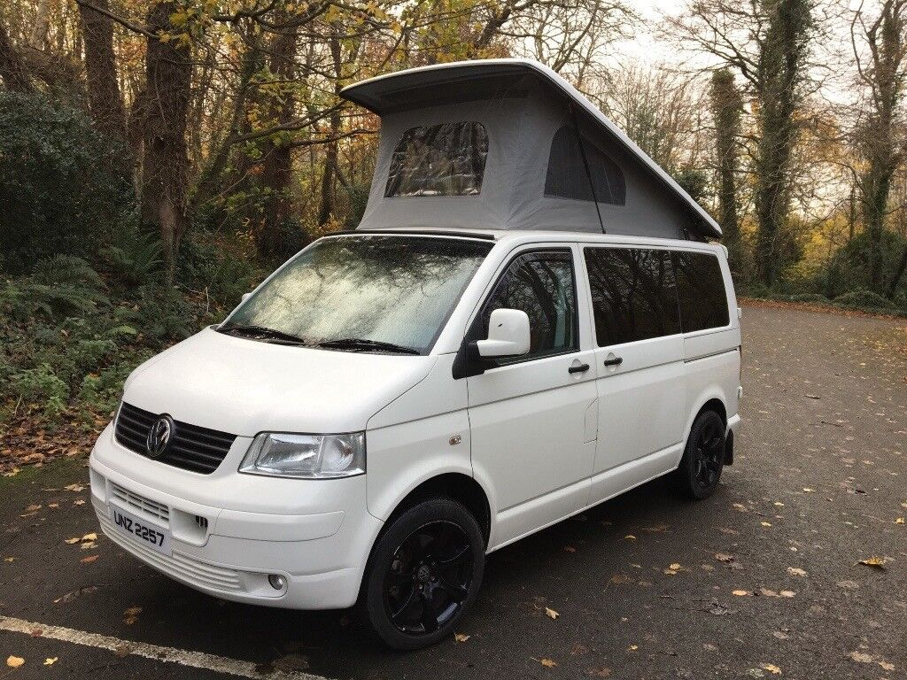 White VW T5 Transporter Campervan 4 Berth With Pop Up Roof And Drive Away Awning
