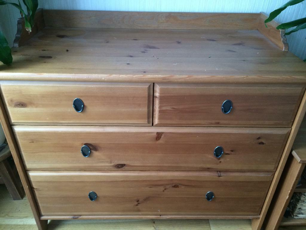 2 ikea leksvik solid antique pine chest of 4 drawers in for Pine desk ikea