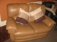2 x furniture village leather two-seater sofas, good condition