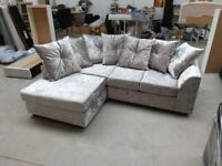 NEW L/H SILVER CRUSHED VELVET CORNER SOFA INCLUDES FREE DELIVERY & FREE MATCHING STOOL FOR £299.99