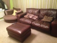 Leather 3 seater sofa and pouffe