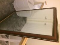 """large hanging mirror with wood frame 1mtr by 1.3 mtrs (40"""" x 51"""" )"""
