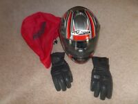 Nitro Racing Motorbike Helmet. Size M 580. Leather Gloves.