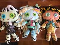 THREE MONSTER HIGH FABRIC DOLLS