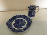 George Jones 1790 Blue and White Abbey cake plate and coffee pot