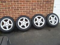 "MERCEDES/VW/AUDI ETC 16"" INCH ALLOY WHEELS WITH TYRES AND CENTRE CAPS"