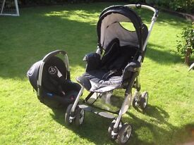 Navy blue Travel System with raincovers and cosytoes. Clean and excellent condition.