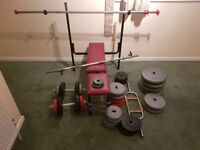 Home made bench and some weights