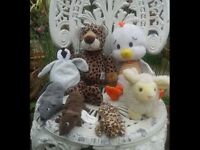 SELECTION OF SOFT TOYS FOR SALE. TY BEANIE. CHICKEN LITTLE. MICE. SHEEP LEOPARD COLLECTABLE TOYS