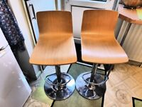 2 Kitchen Bar stools Excellent condition wood effect Chrome base