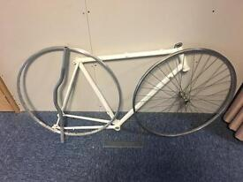 Bike Project, White Frame, Silver Handlebars and 1 x complete wheel, 1 x wheel frame