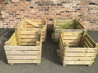 4 OF WOODEN PLANTER EX HOMEBASE STOCK