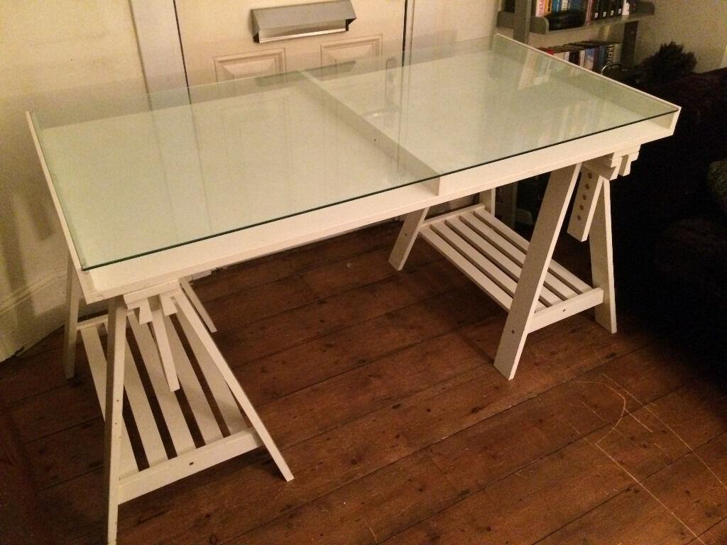 White Ikea Trestle Desk Table In Brighton East Sussex