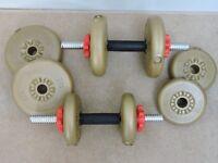 YORK fitness 15kg Vinyl Spinlock Dumbell Set