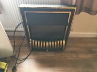 Electric black & gold fire with hearth and surround
