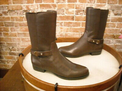 Isaac Mizrahi Trolley Dark Brown Leather Mid-Calf Riding Boots NEW Ladies Dark Brown Leather