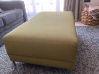 Foot stool in modern green fabric