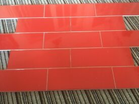 Red linear wall tiles