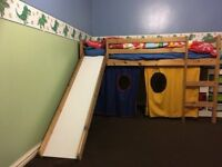 KIDS CABIN BED WITH SLIDE+TENT CAN DELIVER FREE