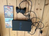 Sony PS2 with games, controller and memory card