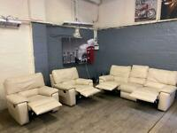 REAL LEATHER SOFA SET RECLINERS 3-1-1 SEATER IN NICE CONDITION