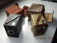 Two Brownie 6-20 box cameras with carry cases.