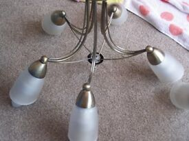 3 x 5 ARM LIGHT FITTINGS-WHITE GLASS SHADES - BRUSHED GOLD COLOUR