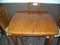 Dining Table Extendable 4 Chairs Made From Solid Wood