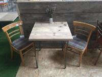 Coffee shop style small reclaimed wood table