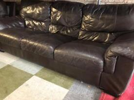 REAL LEATHER SOFA 3 SEATER NICE
