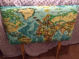 Headboard, for single bed, map of the world fabric