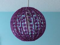 Purple beaded sparkly lampshade