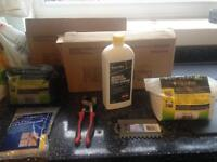 2 boxes of tiles and equipment