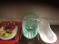 Great Condition Walker,Bouncer,Bath tub and moses basket