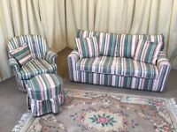 Sofa Bed Suite - 2 Seater Sofa Armchair & Footstool - Guest Bed