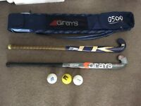 Hockey set - hockey sticks x2, hockey balls x3 and carry bag