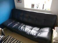 IKEA Black Faux Leather Sofa Bed