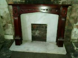 Marble Fireplace & Wooden Surround