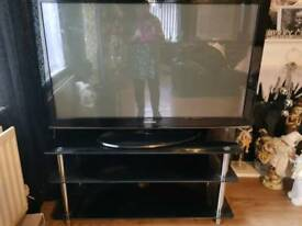 50 inch tv and glass stand