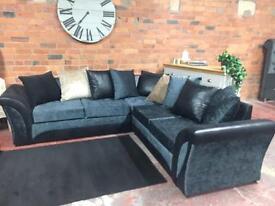 NEW Grey & Black Corner Sofa - Can Deliver