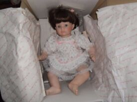 """Danbury Mint collection """"Jessica"""" porcelain doll by Susan Walkeen with certificate"""