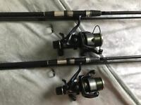 Carp rods esp vertex 2.75TC with shimano 8000GTE baitrunners 2 of each rods and reels