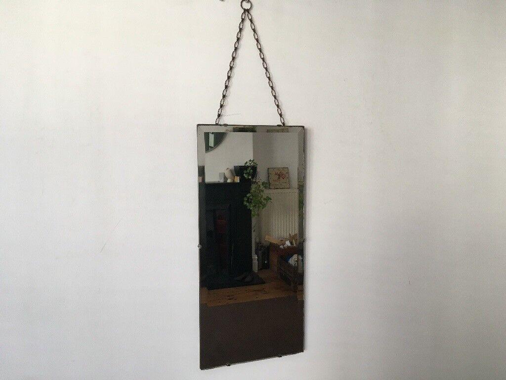 Vintage 1930s Art Deco Rectangular Frameless Bevelled Edge Wall Mirror
