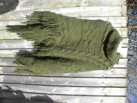 Italian jumbo knit wool poncho