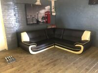 DESIGNER LEATHER CORNER SOFA WITH CHROME LEGS VERY COMFY & HARLY BEED USED
