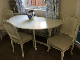 Oval White / Cream Folding Dining Table and 4 Upholstered Matching Chairs - Shabby Chic Style
