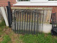 3 Iron gates ,fence panels, concrete lats