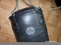 Leather punching bag.