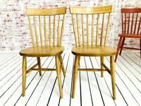 Modern Rustic Spindle Back Kitchen Dining Chairs Mid-Century