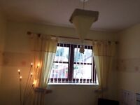 Mamas and Papas Meadow curtains, tie backs, light shade, cot mobile and picture frame